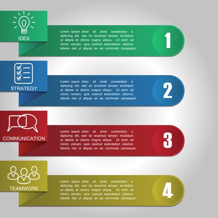 infografica con 4 opzioni. Illustrazione vettoriale moderna può essere utilizzato per il layout del flusso di lavoro, diagramma, opzioni di numero, web design.