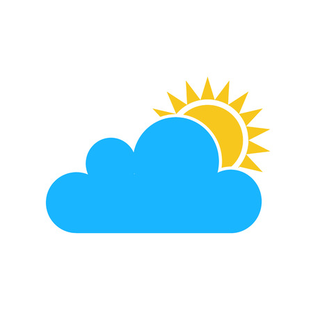 wheather: Color Sun cloud icon isolated on background. Modern flat pictogram, business, marketing, internet concept. Trendy Simple vector symbol for web site design or button to mobile app.  illustration