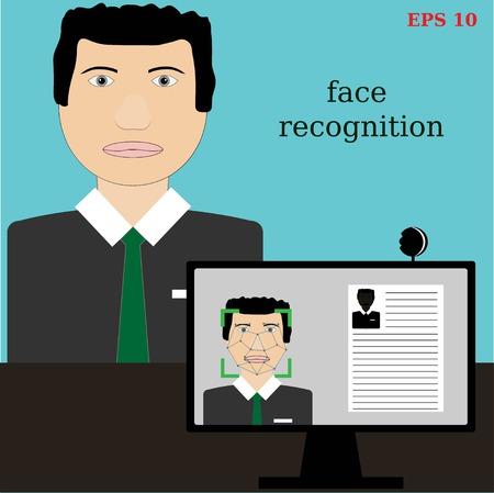 biometric: Biometric verification - young man face recognition Illustration