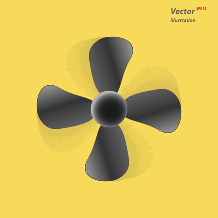 outboard: The fan icon. ventilator, blower, propeller symbol isolated on yellow background. Flat Vector illustration, stock vector Illustration