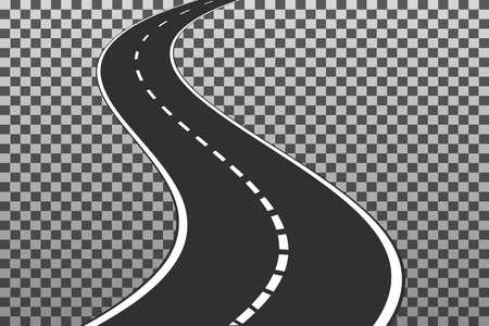 Curved road with white markings. . Vector illustration template isolated on transparent background
