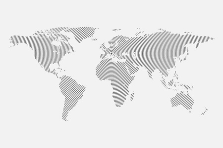 illustrated globe: Clean Gray wave world map isolated on white background. Centric circles. Modern trendy Vector template for website, design, cover, infographics. Graph illustration.