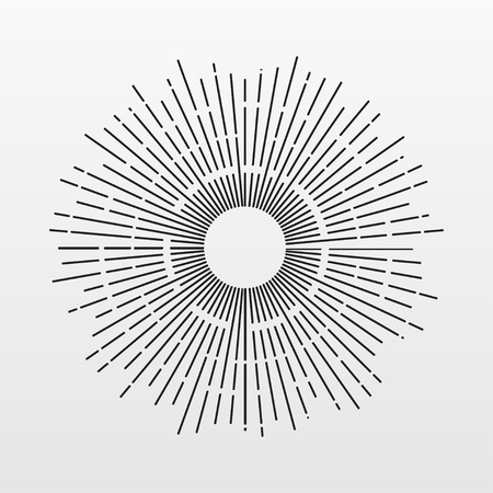 Vintage Sun rays isolated on background. Modern simple flat fireworks sign. Business, internet concept. Trendy Simple vector starburst symbol for website design, button, mobile app. illustration Illustration