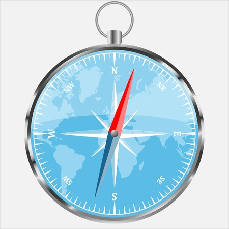 Compass with blue world background. Realistic vector illustration. Modern navigation template. Illustration