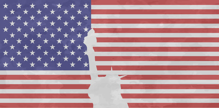 february 1: USA flag with isolated statue of liberty with frayed layout. United states of America symbol. Retro style. .Vector illustration