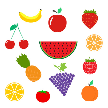 Color Fruits icon isolated on background. Modern flat pictogram, business, marketing, internet concept. Trendy Simple vector symbol for web site design or button to mobile app. illustration