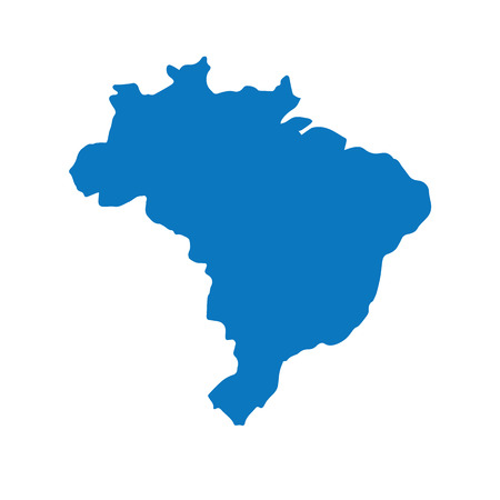Blank Blue similar Brazil map isolated on white background. South American country. Vector template for website, design, cover, infographics. Graph illustration.