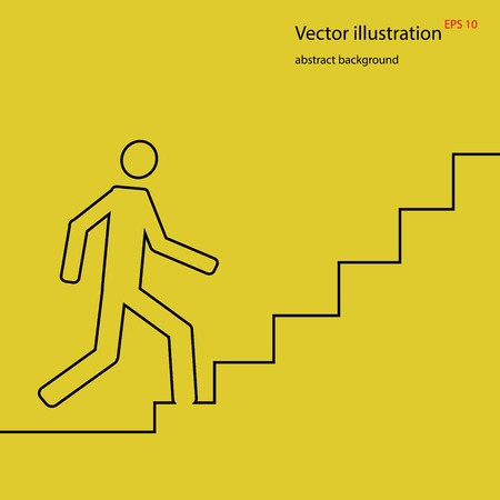 going up: Man going up on stairs, abstract background, stock vector illustration,