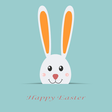 holly day: Happy Easter card. White rabbit with text isolated on background, flayer, brochure. Flat vector template for your design. Holiday illustration