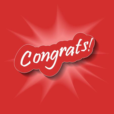 Congrats! Congratulations card. Abstract background. Vector illustration