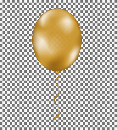 Gold shine air balloon with ribbon isolated on transparent background. Yellow vector template for your design. Trendy symbol
