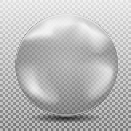 Big realistic white black air, watter bublle, transparent glass sphere with glares and shadow isolated on background