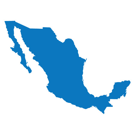 Blank Blue similar Mexico map isolated on white background. American country. Vector template for website, design, cover, infographics. Graph illustration. Illustration