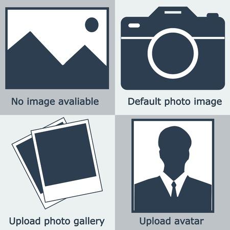 画像なしの濃いブルーのセット、写真なし: 空の写真、カメラ、写真アイコン、人のシルエット。不足しているまたはアイコンをアップロードします。インスタントのベクトル図