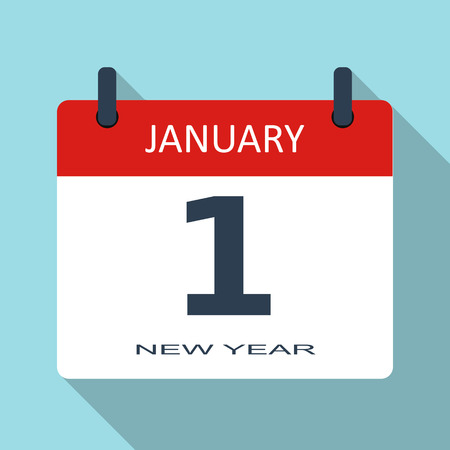 january 1: 1 January. New year day. Vector flat daily calendar icon. Date and time, month. Holiday. Modern simple sign template for web site and mobile app illustration.