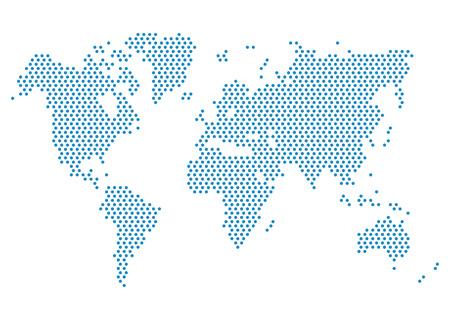Mappa del mondo tratteggiata. Punta Mappa del mondo blu per infografica Archivio Fotografico - 62664122