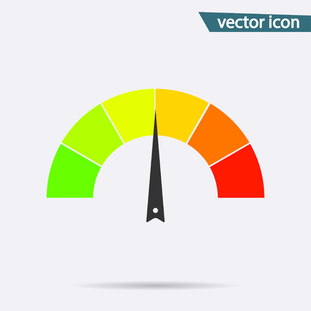 Tachometer or speedometer icon on background. Modern flat pictogram, business, marketing, internet concept. Trendy Simple vector symbol for web site design or button to mobile app. illustration