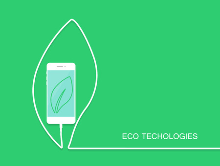 iphon: Eco phone charge, wire isolated on green background. Surprise banner, card, template for your design. Smartphone earphone