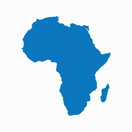Blank Blue similar continent Africa map isolated on white background. Vector template for website, design, cover, infographics. Graph illustration.