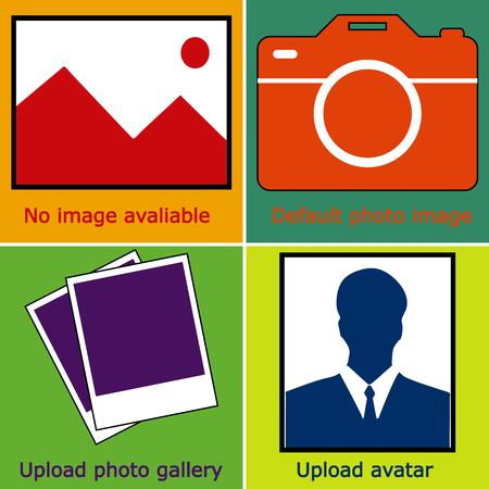 uploading: Dark blue Set of no image available, no photo: blank picture, camera, photography icon and silhouette of a man. Missing or uploading icon. instant vector illustration Illustration