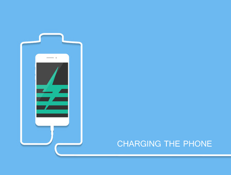 smarthone: Phone charging with energy bank. Smarthone with line wire. Minimalism Outline earphone. . . Trendy simple Vector illustration banner, card, template for your design.
