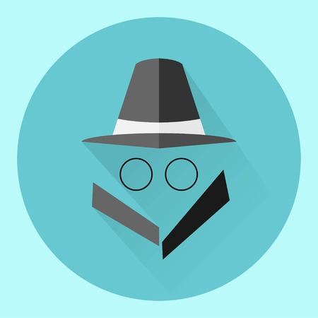 unrecognizable: Man in suit. Spy icon isolated on background. Modern flat pictogram, business, marketing, internet concept. Trendy Simple vector symbol for web site design or button to mobile app. illustration