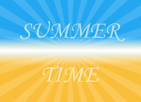 Vector Fun shiny background with written text Summer time in Ukranians flag style. Bright poster with sun rays, sky and beach.