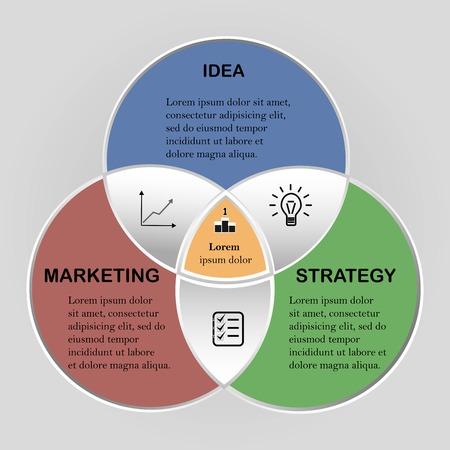 Vector cerchio infografica. Modello per l'infographics del diagramma del ciclo, concetto di affari di lavoro di squadra con 3 opzioni ,. Sfondo astratto