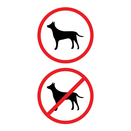 Allowed and prohibited dogs signs isolated on background. Modern flat pictogram internet concept. Trendy Simple vector symbol for web site design or button to mobile app. illustration