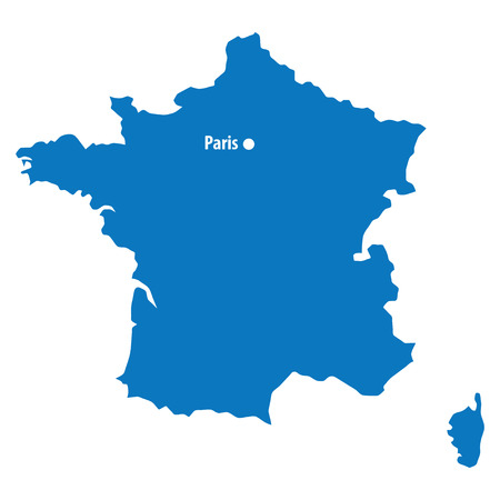 Blue similar France map with capital city Paris. DC point isolated with text. Clean template for your design and infographics Illustration