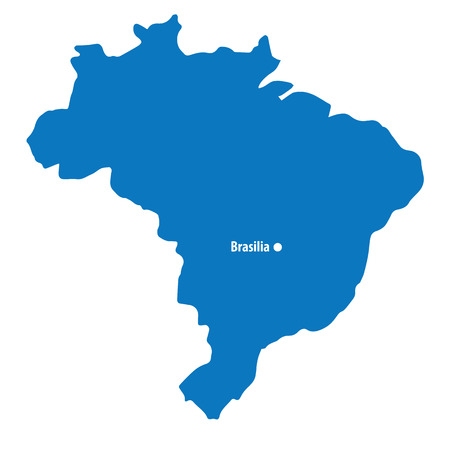 Blank Blue similar Brazil map with capital city Brasilia isolated on white background. South American country. Vector template for website, design, cover, infographics. Graph illustration.