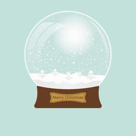snowglobe: Christmas transparent snowglobe with tree.  Vector illustration