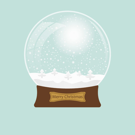 Christmas transparent snowglobe with tree.  Vector illustration
