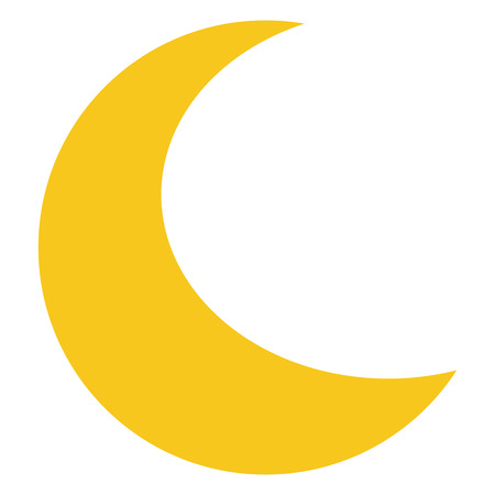 Yellow Moon-Symbol auf Hintergrund isoliert. Moderne Flach Piktogramm, Wirtschaft, Marketing, Internet-Konzept. Trendy Einfache Vektor-Symbol für Website-Design-Taste oder die mobile App. Illustration