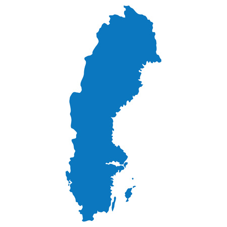 Blank Blau ähnliche Karte Schweden auf weißem Hintergrund. Europäisches Land. Vektor-Vorlage für die Website, Design, Deckel, Infografiken. Graph Illustration.