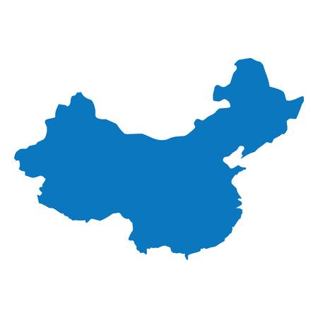 Lege blauwe soortgelijke China kaart geïsoleerd op een witte achtergrond. Aziatisch land. Vectormalplaatje voor website, ontwerp, dekking, infographics. Grafiek illustratie.