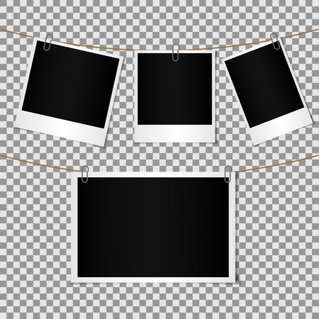 attached: Set of Blank photo frame attached by paper clip to cord, shadow effect and empty space for your photography and picture.