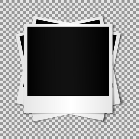 feature films: Set of mixed Blank photo frame isolated on transparent background, shadow effect and empty space for your photography and picture.