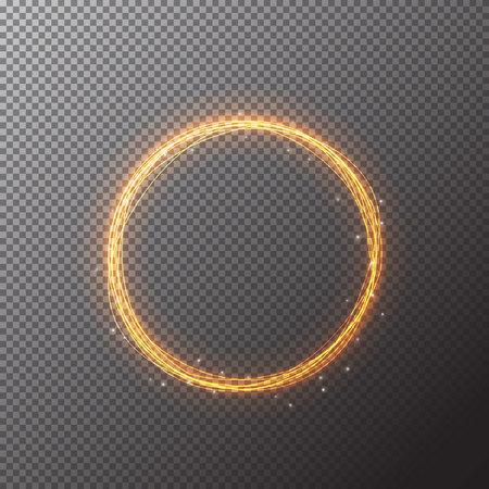 Vector círculo mágico de oro. Resplandeciente rastro anillo de fuego. La chispa del brillo efecto de estela de turbulencia en el fondo transparente. línea redonda bokeh brillo con el vuelo de las luces de destello brillantes. Resumen de vectores de oro