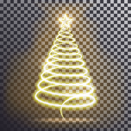 winter tree: Golden Christmas tree. Light tree effect with big Yellow star and sparkle isolated on transparent background. Neon lights swirl. Decoration glowing line for xmas card, banner. Vector illustration Illustration
