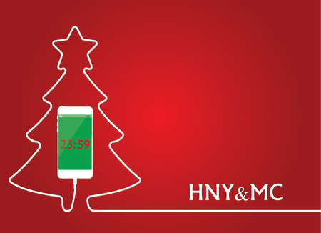White Phone charging in style christmas tree. Smartphone with line wire. Cellphone with time. Minimalism, Outline earphone. Trendy simple. Happy New Year Vector illustration banner, card, design