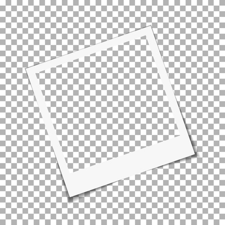 Blank old paper photo frame isolated on transparent background, shadow effect and empty space for your photograph and picture. Advertising template, Snapshot, instant photo frame, vector illustration Vettoriali