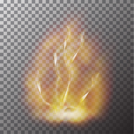 Transparent red yellow flame effect isolated on checker background. Realistic fire effect decoration. Torch effect. Glare texture. Vector illustration