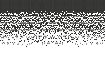 落ちてくるピクセル。白い背景の上の抽象的な背景グラデーション デザイン分離黒の要素をモザイクします。ウェブサイト、カード、ポスター用イ
