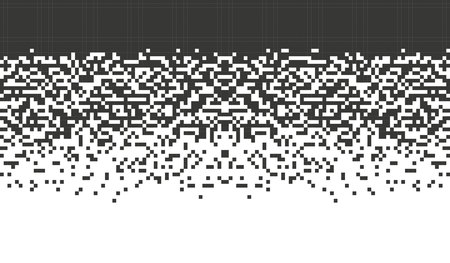 Falling pixel. Mosaic abstract background Gradient design Isolated black elements on white background. illustration for website, card, poster Vettoriali