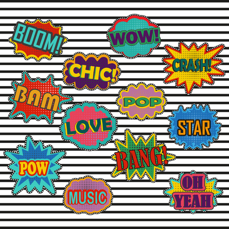 Comic patch sound effects in pop art style. Sound bubble speech with word and comic cartoon expression sounds illustration. Comic cartoon burst graphic effect with label and text in retro style Vettoriali