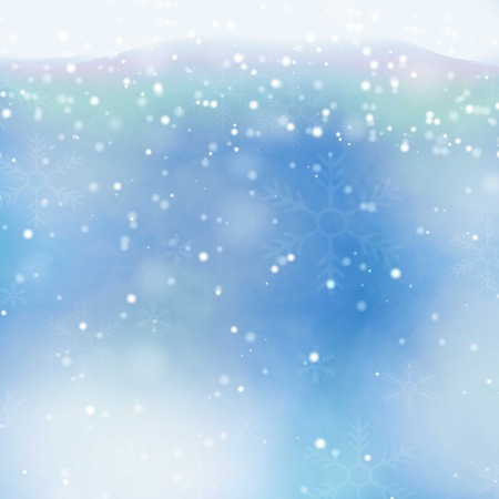 snow fall: transparent falling snowflakes isolated on blue background. Christmas background with snowflakes. Snow fall template for  card, illustration