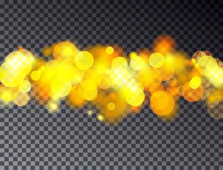 abstract bokeh background. Transparent festive defocused lights isolated on dark background. Christmas light template for poster, card. illustration.