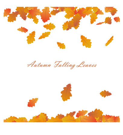 Autumn Frame With Falling Maple Leaves on White Background. Seasonal decoration Design with Text. Illustration.