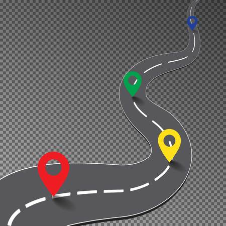 racing track: Street road with map point isolated on transparent background, curve way to goal, racing track, business infographic with colorful pin pointer, illustration Illustration
